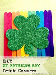 Frugal DIY: St. Patrick's Day Coasters #DIY #craftsforkids #stpatricksday
