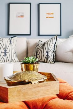 Styled coffee table ottoman with patterned throw pillows.