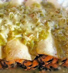 Sweet potato black bean enchiladas with salsa verde are vegetarian and gluten free