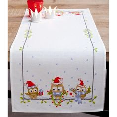 Embroidery kit christmas tablecloth Funny owl art. PN-0150868 Vervaco