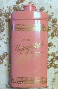 "My mother used this kind of Vintage AVON ""Unforgettable"" Perfumed Talc when my sister and I were growing up."