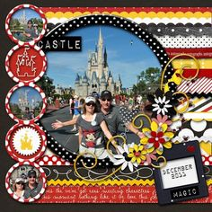 """not just for Disney... interesting effect with the circles & stripes (note to self: prob'ly 2"""" circles w/.25"""" mattes; lg circle, 6"""" w/.5"""" matte. Opposite page: def. continue stripes, maybe more circles?)"""