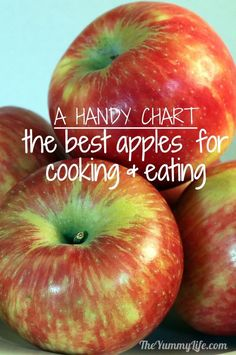 Comparing Apples to Apples -- a chart to help you choose the best ones for eating and cooking! Applesauce and apple butter and apple pie and... lots of apples! :) Make sure you go organic because apples are on the Dirty Dozen list. Be kind to your body...it's the only one you'll ever have.