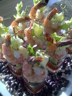 individual appetizers, bloodi shrimp, shrimp shot
