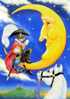 cats, boot fairytal, cat puss, cat man, art prints, fine art, moon art, fairi tale, boots