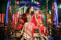Husn e Afza red gold bridal anarkali