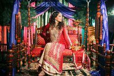 Husn e Afza red gold bridal anarkali