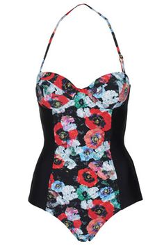 TOPSHOP	Black Poppy Floral One Piece