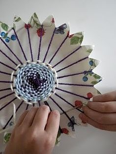 "WEAVING in the ROUND {Basic Directions Only ~ I suggest reading one of my 2 Tutorials first for helpful hints!} ~ To obtain a ""Flower"" look, or just to have them be round: coasters, hot pads, table cozy, wall hanging, etc."