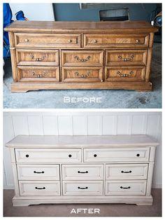"""white refinished dresser - for the coffee """"desk"""" from thrift shop Desk Refinish, Refinished Desk Ideas, Old Dressers, Painted Dressers, Refinish Dresser, Refinshed Dresser"""