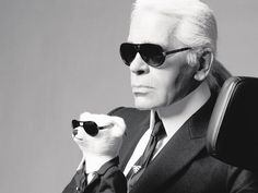 Karl Lagerfeld and friend.