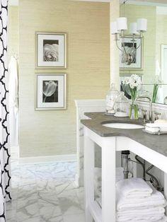 Build your own open vanity by mounting countertop to a wood frame and legs. More open vanities: http://www.bhg.com/bathroom/vanities/open-vanity-bath-storage/?socsrc=bhgpin053112