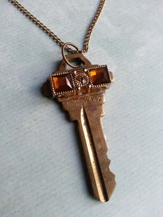Key Necklace Golden Eyes  Vintage Key with by FreeToBeCreations, $15.99