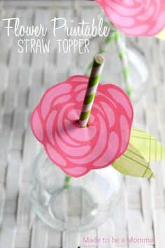 Flower Printable Straw Topper by Made to be a Momma
