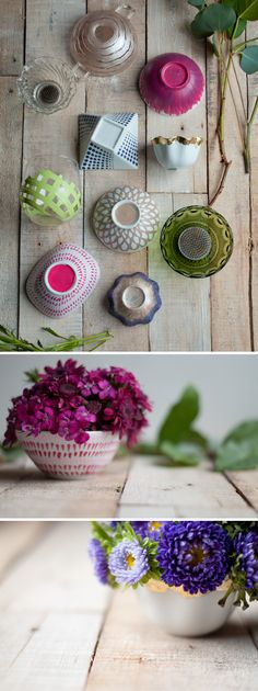 DIY: Flower Frog Bowls. They make cheap grocery store flowers look stunning.