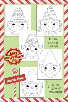 Elf Hats Coloring Pages (free; from Kids Activities Blog)