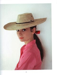 straw hats, hollywood glamour, audrey hepburn, audreyhepburn, icons, pink, cowboy hats, straws, anne hathaway