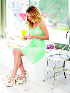lc lauren conrad: mint dress + strappy heels