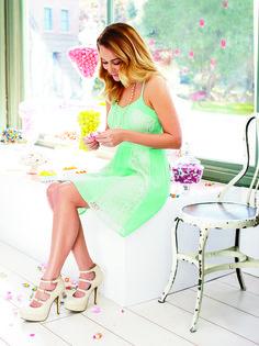 lc lauren conrad: mint dress + strappy heels