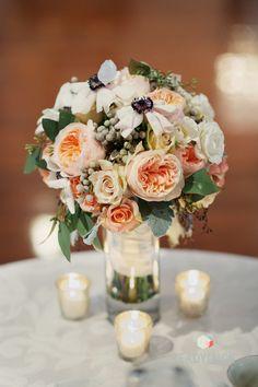 Peach Rose & Anemone Bouquet -- On http://www.StyleMePretty.com/mid-atlantic-weddings/2014/04/08/elegant-winter-wedding-at-antrim-1844-country-house-hotel/ Photography: ReadyLuck.com