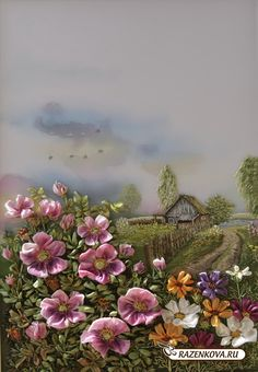 A spectacular landscape in ribbon embroidery