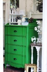 TheShabbyCottageHome.com one of a kind furniture  reinvented vintage finds. My Nantucket Green dresser make over!!