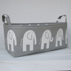Long Diaper Caddy - Storage Container Basket Fabric Organizer Bin - Ele Elephant - Choose the Fabric for the Outside and Inside