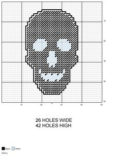 Black Skull Halloween plastic canvas pattern