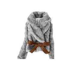 FINEJO Women's Faux Fur Rabbit Hair Belted Fluffy Short Outwear [Apparel] $24.99 (9% OFF)