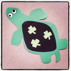 Go Green! In honor of St. Patty's Day, we're making lucky shamrock turtles here at Alamitos Library!