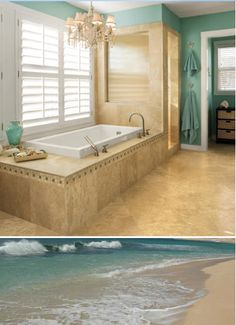 Beach bathroom - sand and surf...The plantation shutters over the tub are stunning. Find similar at http://www.horizonshutters.com/plantation-shutters.