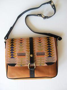 Leather geometric bag by Lizzie Fortunato. #geometric #navajo #aztec