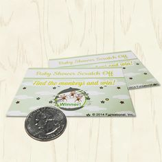 """Baby Shower Scratch Offs. Based on sweet nursery rhymes, players will find the fiddle from """"Hey Diddle Diddle"""" and the mittens from """"3 Little Kittens""""… but only the winner will find the 3 little monkeys! Green baby shower games."""