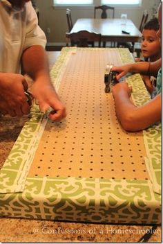 DIY Custom Bench Cushion Use a pegboard - makes tufting easier. Good for headboard also.