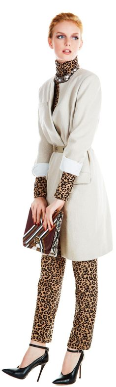 leopard print with a neutral belted coat and pointy-toe pumps.