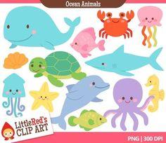 animals, art set, clip art, sea clipart