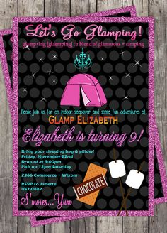 Glamping Slumber Party Invitation DIY Birthday Party Customized on Etsy, $9.99