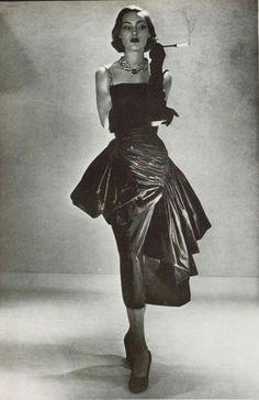 Model wearing a gown by Germaine Lecomte for L'Art Et La Mode,1950.
