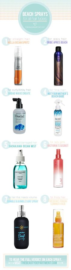 beach waves. dead useful product guide that categorizes by your hair type. not all beach sprays are created equal!