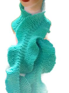 Ruffled Scarf Hand Knit Curly and Twirly by KnittingOleBag on Etsy