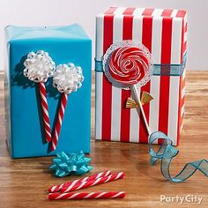Lollipops and candy sticks are an easy way to add a personalized touch to store-bought wrapping paper. The best part? Gift-openers can snack on the wrapped candies!
