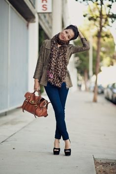 Camo Jacket & Leopard Scarf