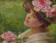 "Franz Dvorak 1903 ""Head of a Woman with Peonies"