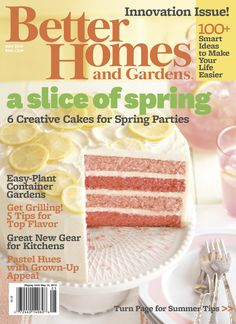 Our May issue hits newsstands today! Get the recipe for the Pink Lemonade Cake on the cover here: http://www.bhg.com/recipe/pink-lemonade-cake/?socsrc=bhgpin041712pinklemonade
