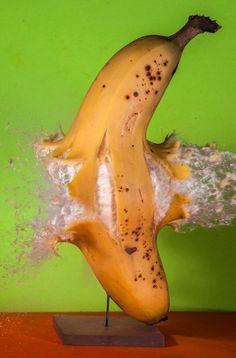 A bullet shattering a banana (by Alan Sailer).