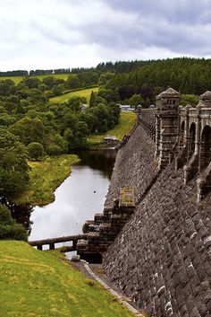 Looking across the side of the dam at Lake Vyrnwy, Wales