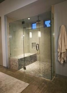 walk in shower stall- large bench would be great for washing dogs on!