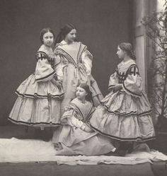From left: HRH Princess Helena of Great Britain (1846–1923), HH Princess Clotilde (1846-1927) and HH Princess Amalie (1848-1894) of Saxe-Coburg-Gotha, HRH Princess Louise (1848–1939) of Great Britain
