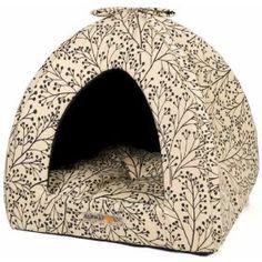 AlphaPooch Napper Cat Den, Black Berry Branch Fabric with Black Solid Interior $29.99
