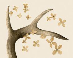 deer antler art, warm caramel tone, woodland decor - Lost Antler 8 x 10 via Etsy